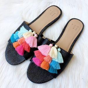 A New Day Tassel Pom Pom Rainbow Slides Sandals 9